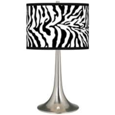 Safari Zebra Giclee Trumpet Table Lamp
