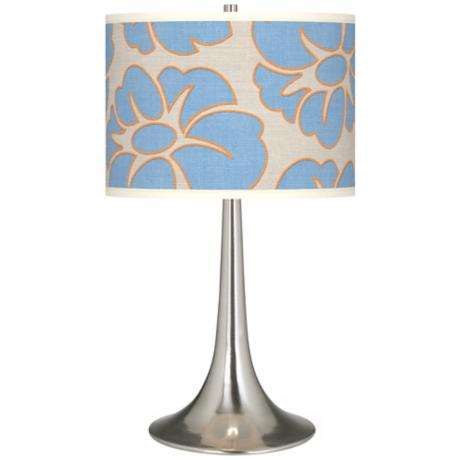 Floral Blue Silhouette Giclee Trumpet Table Lamp