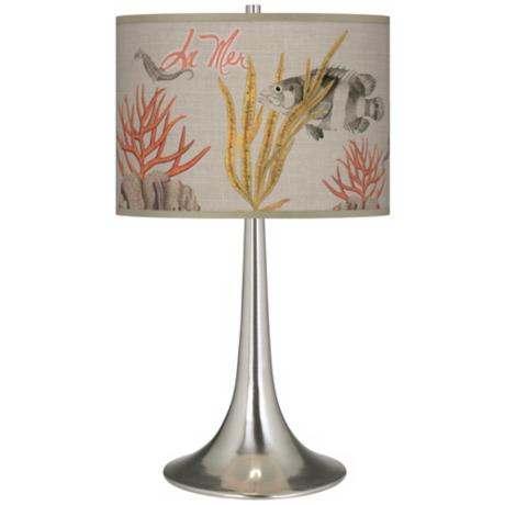 La Mer Coral Giclee Trumpet Table Lamp