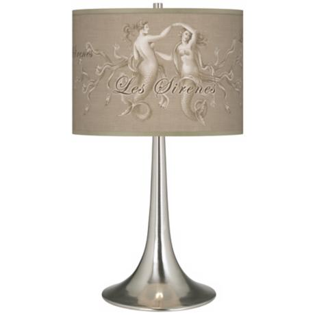 Les Sirenes Natural Giclee Trumpet Table Lamp