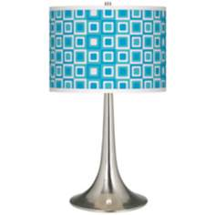 Blue Boxes Linen Giclee Trumpet Table Lamp