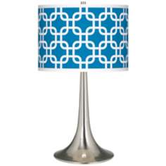 Blue Lattice Giclee Trumpet Table Lamp