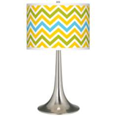Citrus Zig Zag Giclee Trumpet Table Lamp