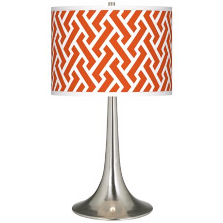 Red Brick Weave Giclee Trumpet Table Lamp