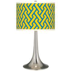 Yellow Brick Weave Giclee Trumpet Table Lamp