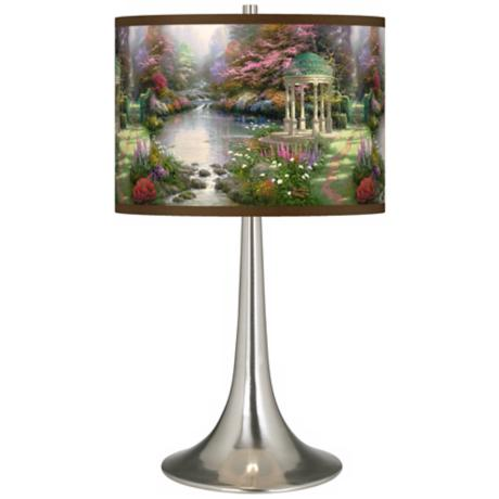 Thomas Kinkade The Garden of Prayer Trumpet Table Lamp