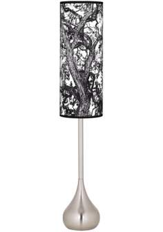 Arboretum Black Giclee Teardrop Torchiere Floor Lamp