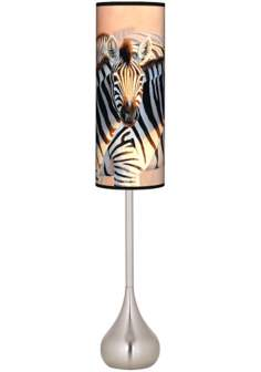 The Glowing Dust Zebra Giclee Teardrop Torchiere Floor Lamp