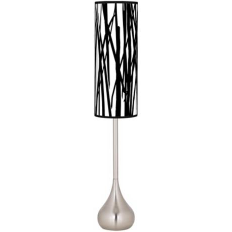 Black Jagged Stripes Giclee Teardrop Torchiere Floor Lamp