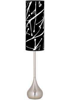 Stacy Garcia Calligraphy Tree Black Teardrop Torchiere Floor Lamp
