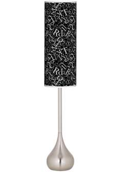 Alphasoup Grayscale Giclee Teardrop Torchiere Floor Lamp