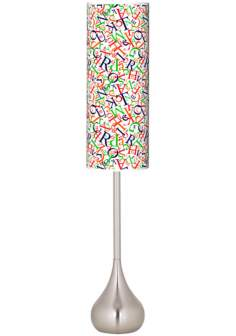 Alphasoup Primary Giclee Teardrop Torchiere Floor Lamp