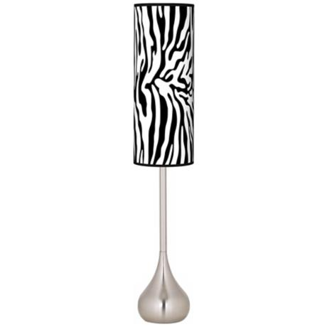 Safari Zebra Giclee Teardrop Torchiere Floor Lamp