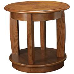 "Ascend Medium Oak Finish 25"" Wide Round End Table"