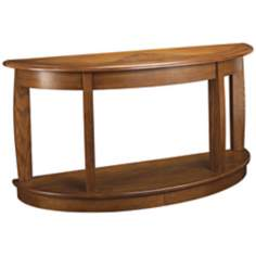 "Ascend Demilune Medium Oak Finish 56"" Wide Sofa Table"