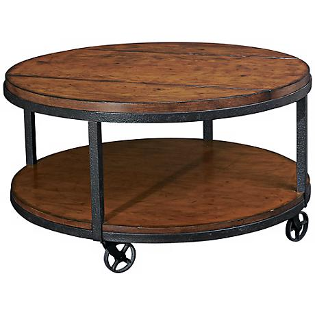 "Hammary Baja Distressed 34"" Wide Round Cocktail Table"