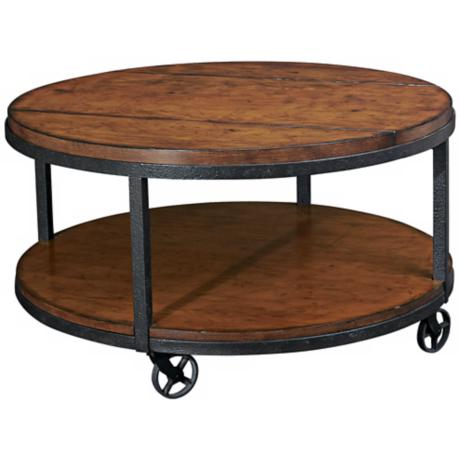 "Baja Distressed Finish 34"" Wide Round Cocktail Table"