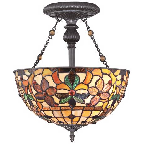 "Quoizel Kami 14"" Wide Tiffany Style Ceiling Light"