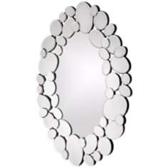"Stratus Mirrored Pebbles 22"" High Oval Wall Mirror"