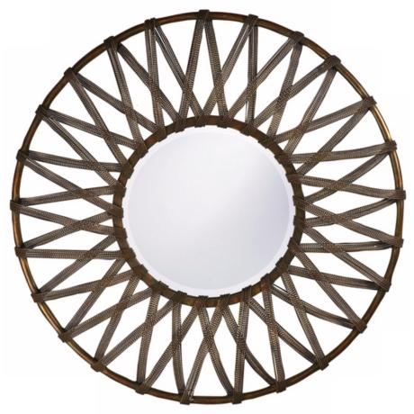 "Lucy Roped Antique Silver 32"" Round Wall Mirror"