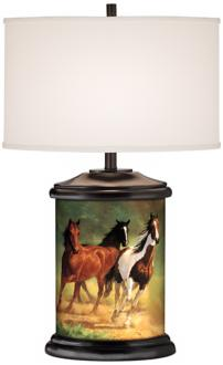 Home Run Horses Giclee Art Base Table Lamp (R2109-R7679)