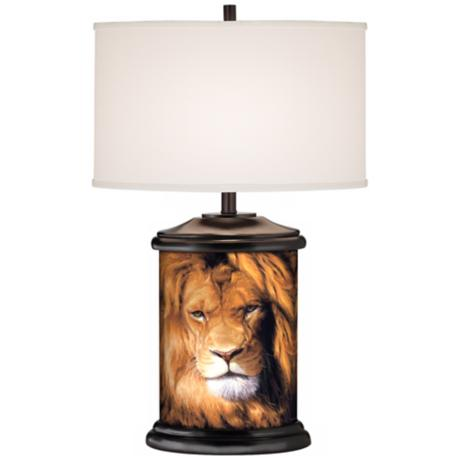 Botswana King Lion Giclee Art Base Table Lamp