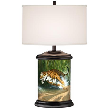 Unleashed Tiger Giclee Art Base Table Lamp