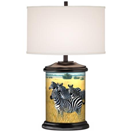 Zebra Family Giclee Art Base Table Lamp