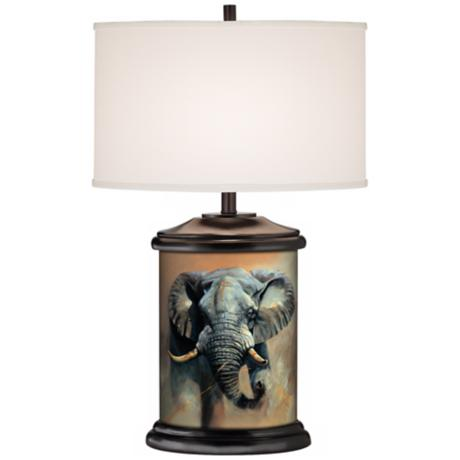 Elephant Giclee Art Base Table Lamp