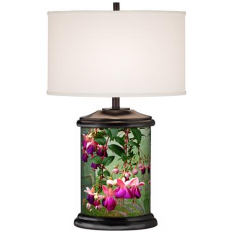 Fuchsia Cascade Giclee Art Base Table Lamp