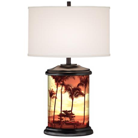 Tropical Vista Giclee Art Base Table Lamp