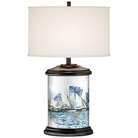 Regatta D'Azur Giclee Art Base Table Lamp