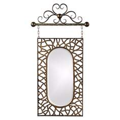 "Irene Antique Bronze 39"" High Hanging Wall Mirror"