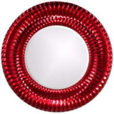 "Sao Paulo Ribbed Metallic Red 46"" Round Wall Mirror"