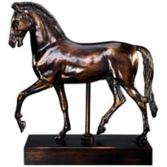 Dark Bronze Horse on a Black Stand
