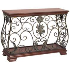 Antique Ironwork and Wood Console Table