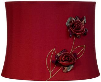 Wine Red Rose Drum Lamp Shade 11x12x9 (Spider) (R2467)
