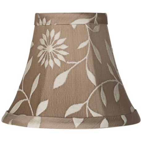 Tan Floral Embroidered Style Lamp Shade 3x6x5 (Clip-On)