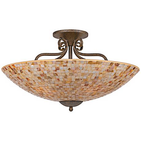 "Quoizel Monterey Mosaic 24"" Wide Semiflush Ceiling Light"