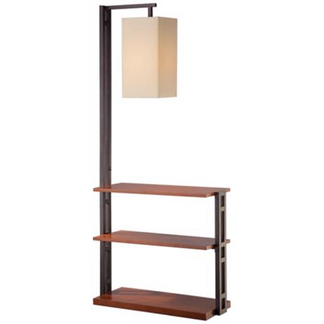 Triple Shelf Floor Lamp With Beige Linen Shade