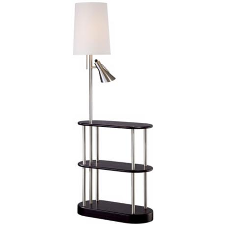 Triple shelf brushed steel espresso floor lamp r2602 Floor lamp with shelves