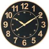 "Wood Grain Black 12 1/2"" Wide Wall Clock"