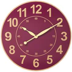 "Wood Grain Red 12 1/2"" Wide Wall Clock"