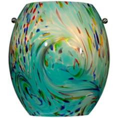 "Green Multi-Color Swirl Glass 8"" High Wall Sconce"