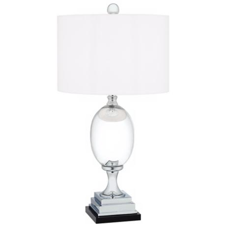 Chrome Finish Egg on Pedestal Table Lamp