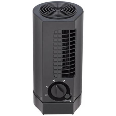 "10"" Oscillating Tower Black Desk Fan"