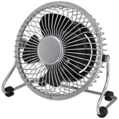 "4"" Desk Fan In Chrome  Mini Grill with Black Blade"