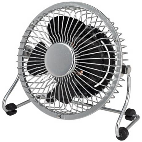 "4"" Desk Fan In Chrome Mini Grill with Black Blade R2814"