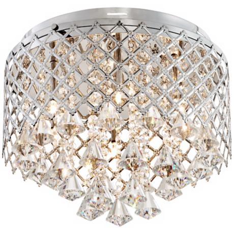 "Criss-Cross Crystal 14"" Wide Flushmount Ceiling Light"