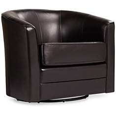 Keller Espresso Bonded Leather Swivel Club Chair